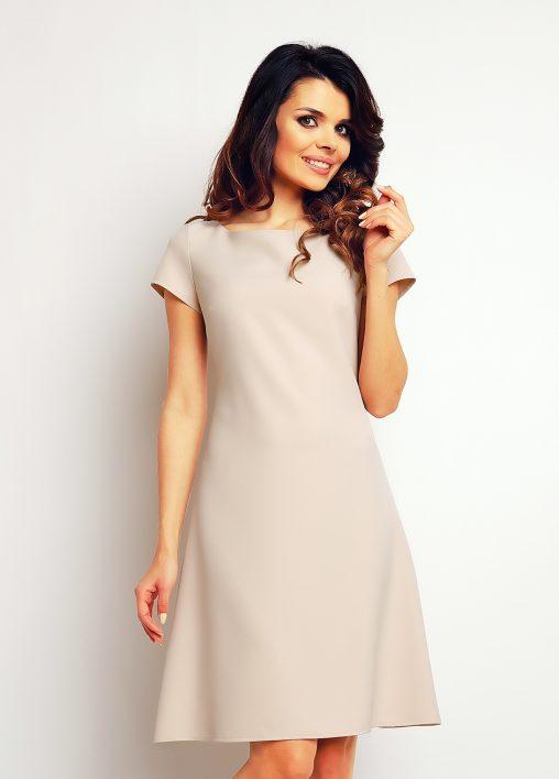 Sukienka trapez beżowa krótki rękaw