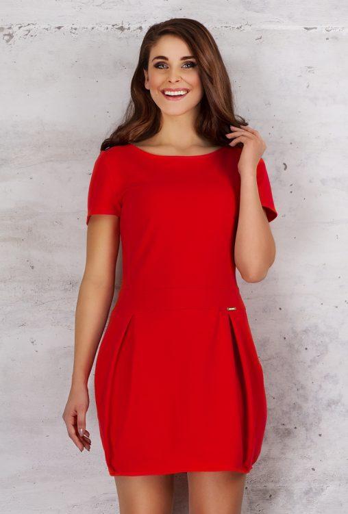 Czerwona sukienka bombka krótki rękaw