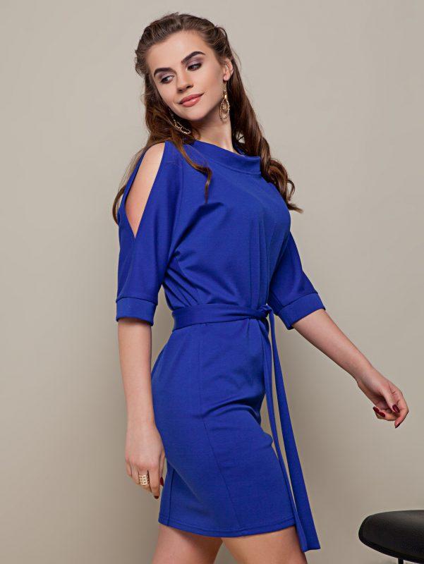 Sukienka z rozcięciem na rękawach niebieska