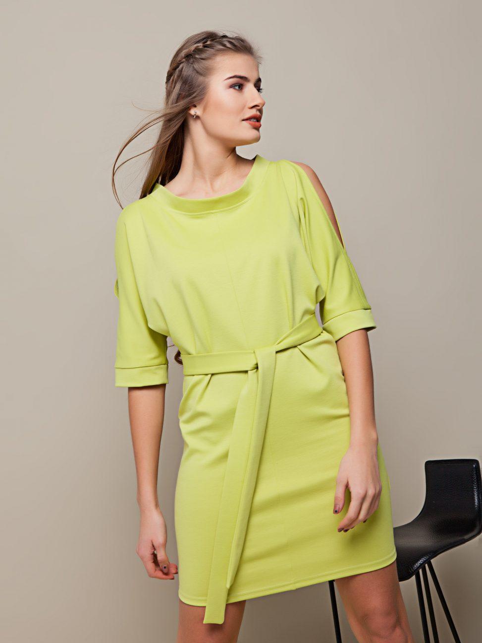 sukienka z rozcięciami na rękawach oliwkowa