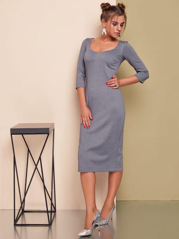 Dzianinowa sukienka szara głęboki dekolt