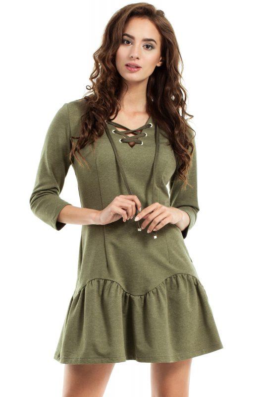 Dresowa sukienka wiązana w dekolcie khaki