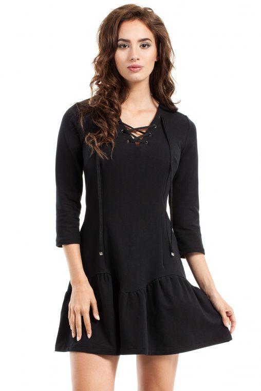 Czarna dresowa sukienka wiązany dekolt