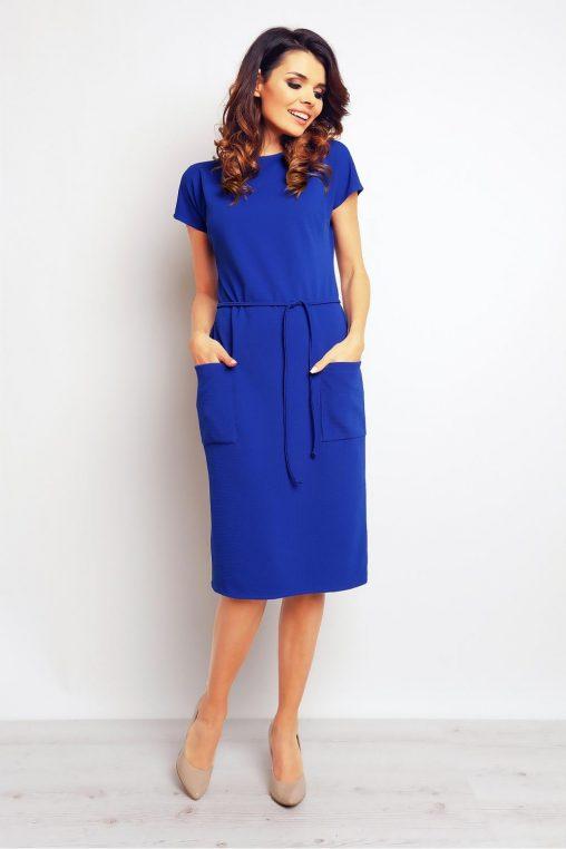 Prosta sukienka z kieszeniami niebieska