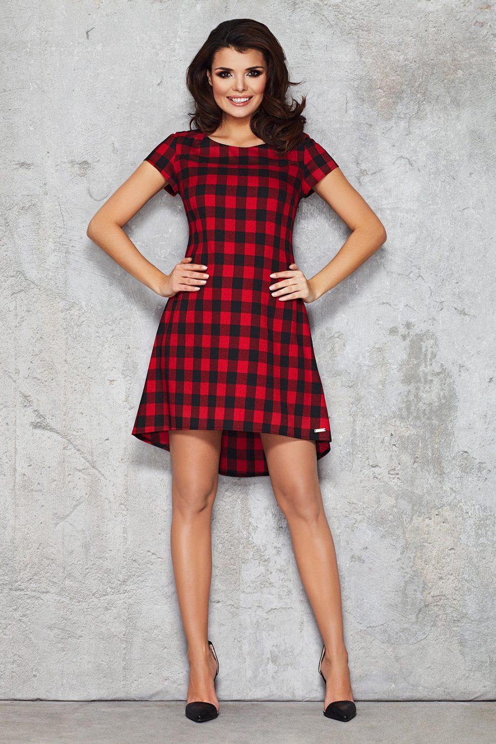 sukienka w kratę czerwono czarna dłuższy tył