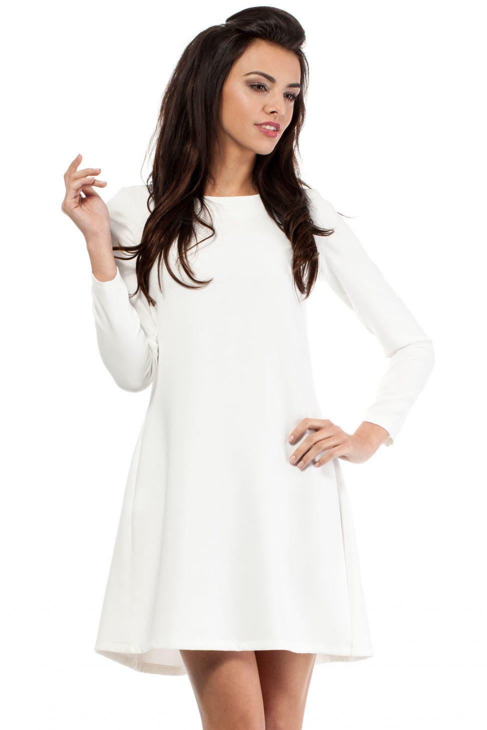 Krótka sukienka z długim rękawem ecru