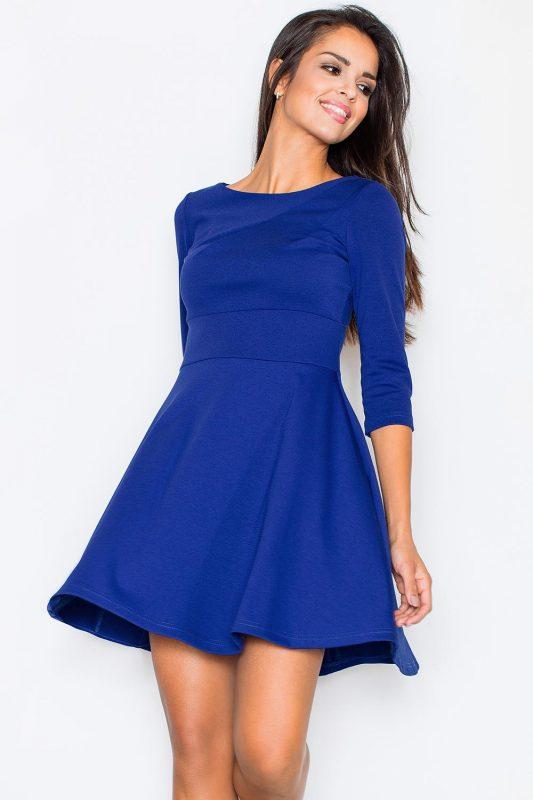 Rozkloszowana niebieska sukienka