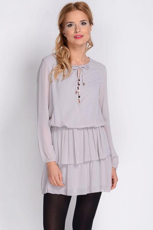 Szara sukienka tunika z szyfonu