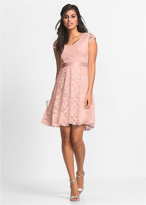 Koktajlowa różowa sukienka z koronki