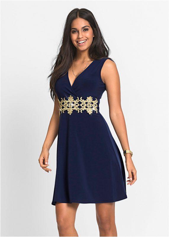 granatowo złota sukienka na wesele