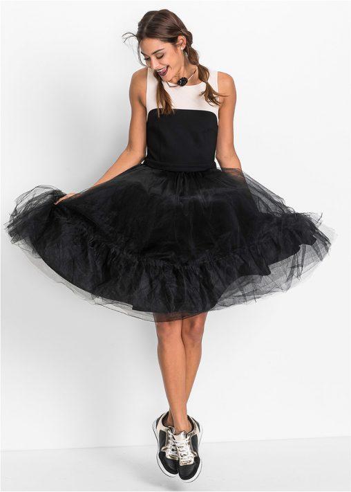 Koktajlowa sukienka z tiulem na dole