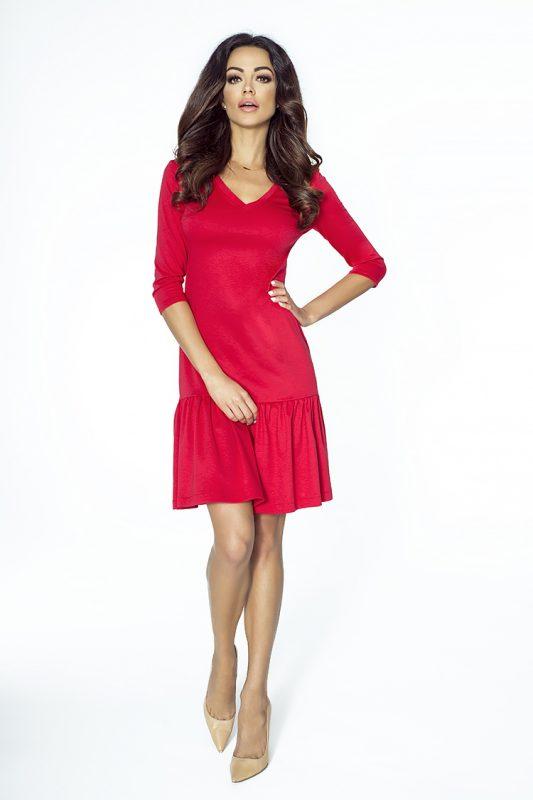 Czerwona sukienka z falbanką dekolt derek