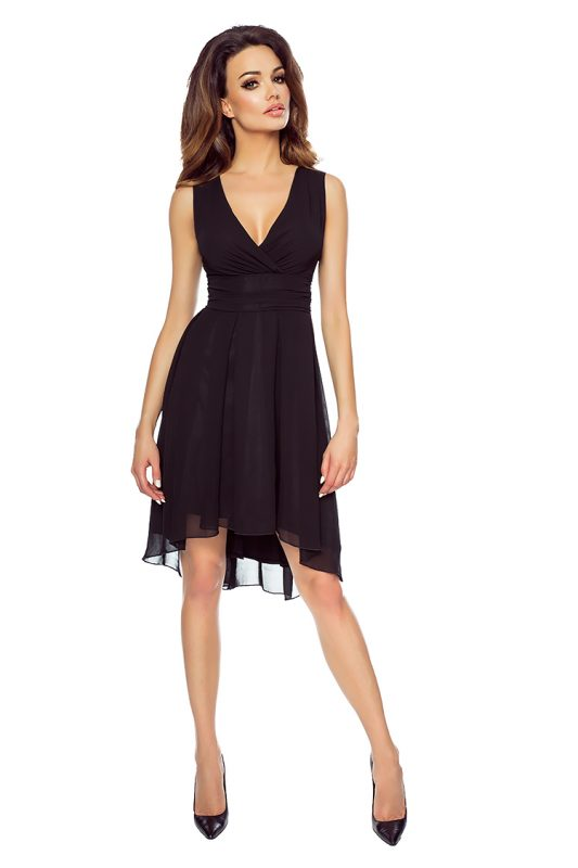 Sukienki odcięte pod biustem szyfonowa czarna kreacja