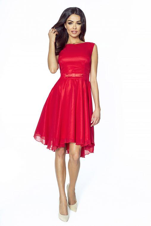 czerwona taliowana sukienka na wesele