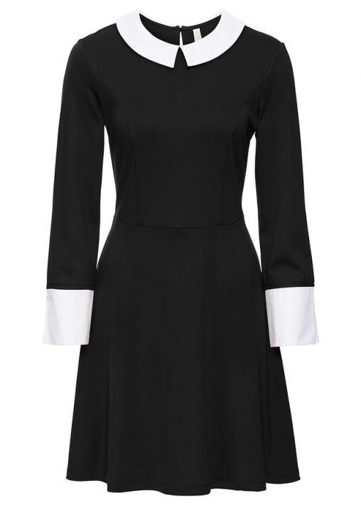 Elegancka sukienka czarna z kołnierzykiem