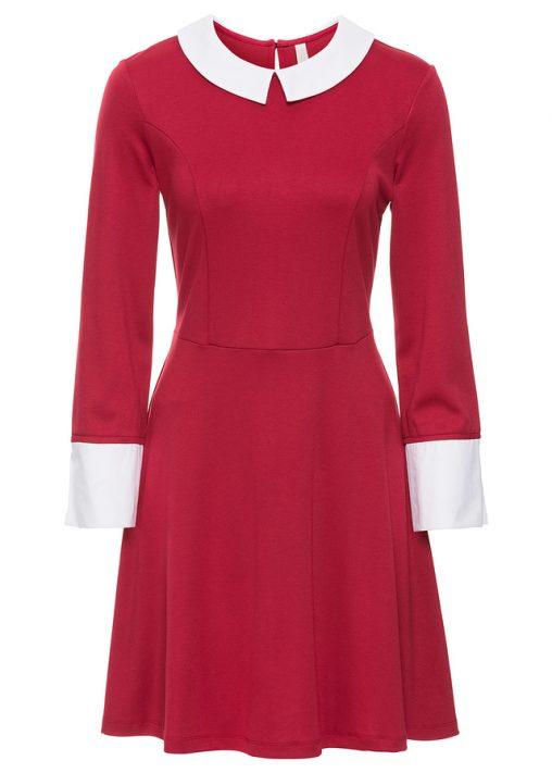 Elegancka czerwona sukienka z kołnierzykiem