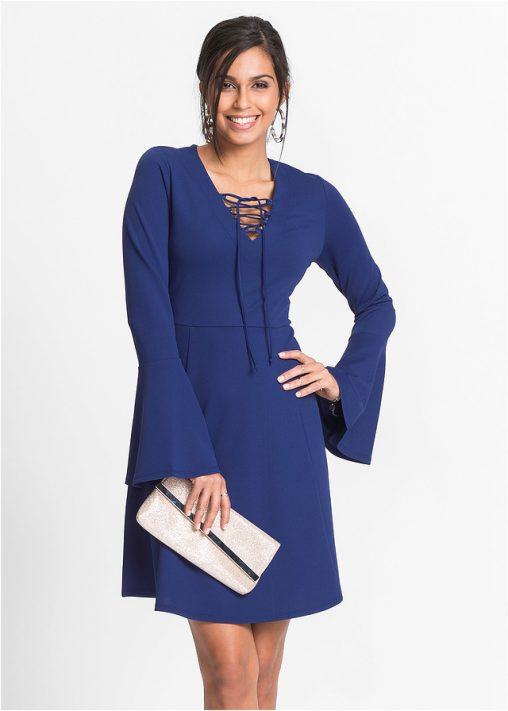 sukienka sznurowana w biuście niebieska