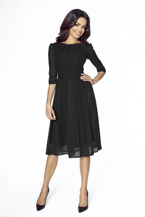 Koktajlowa czarna sukienka z szyfonu