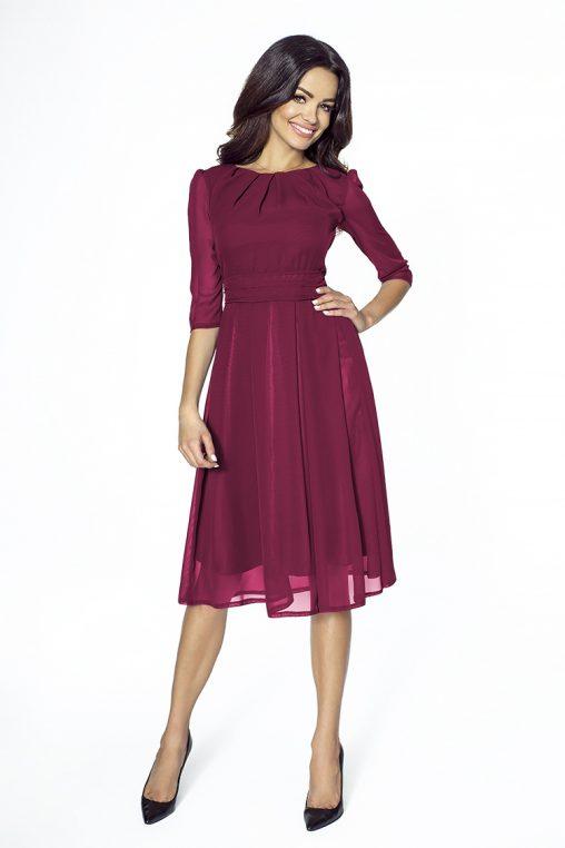 Koktajlowa bordowa sukienka z szyfonu