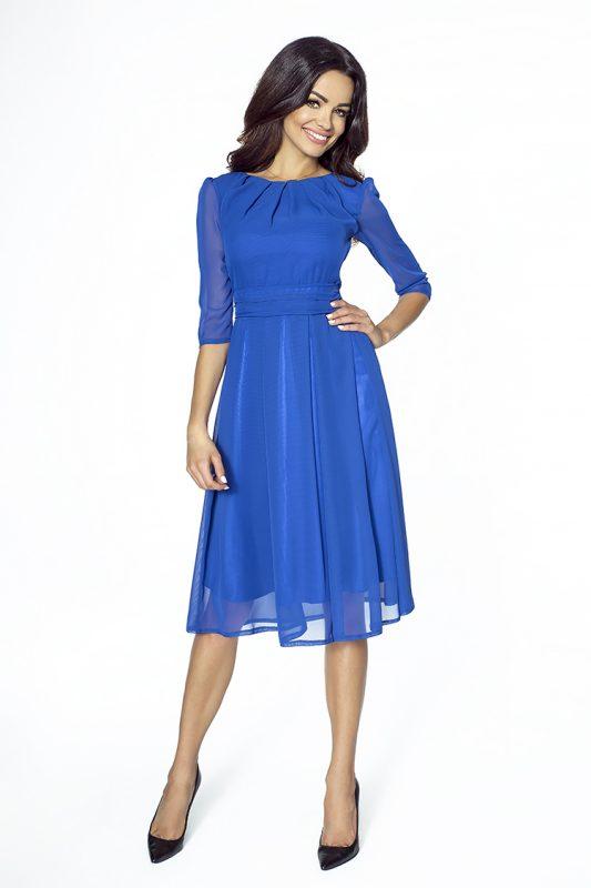 Koktajlowa niebieska szyfonowa sukienka