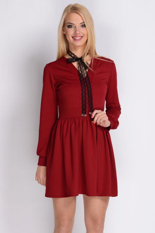 Bordowa krótka sukienka długi rękaw