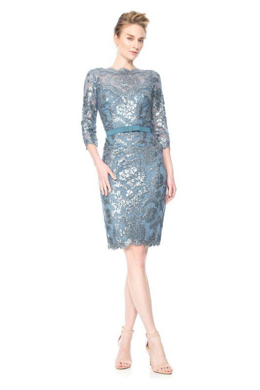 Ekskluzywna koronkowa sukienka z cekinami błekitna