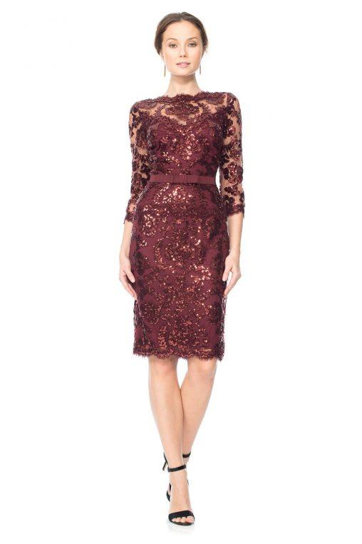 Ekskluzywna sukienka wieczorowa z cekinami bordowa