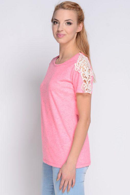 AVARO Modna różowa bluzka z haftem neonowa
