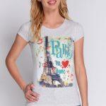 AVARO Modny T-shirt z nadrukiem BL-1159 – jasny szary