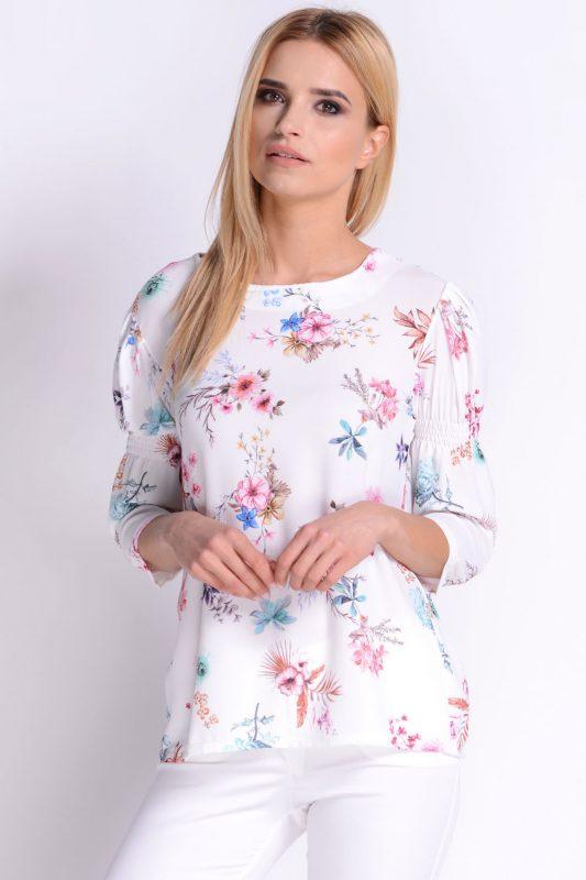 AVARO Urocza bluzka w kwiaty biała