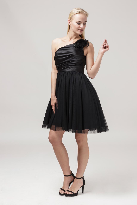 sukienka na jedno ramię czarna tiul i satyna