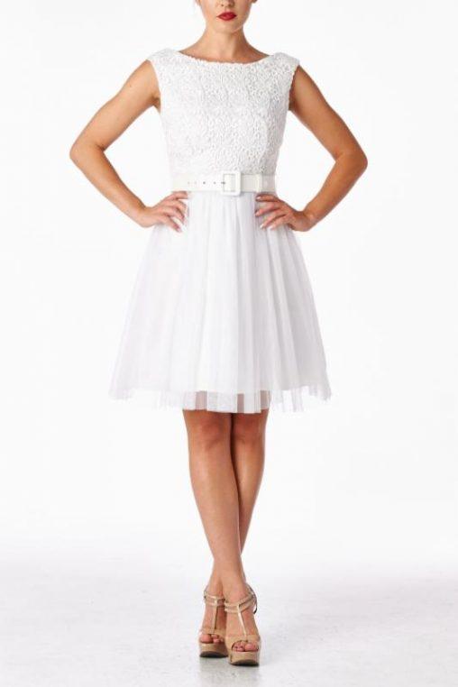 Koktajlowa biała sukienka z tiulem i koronką