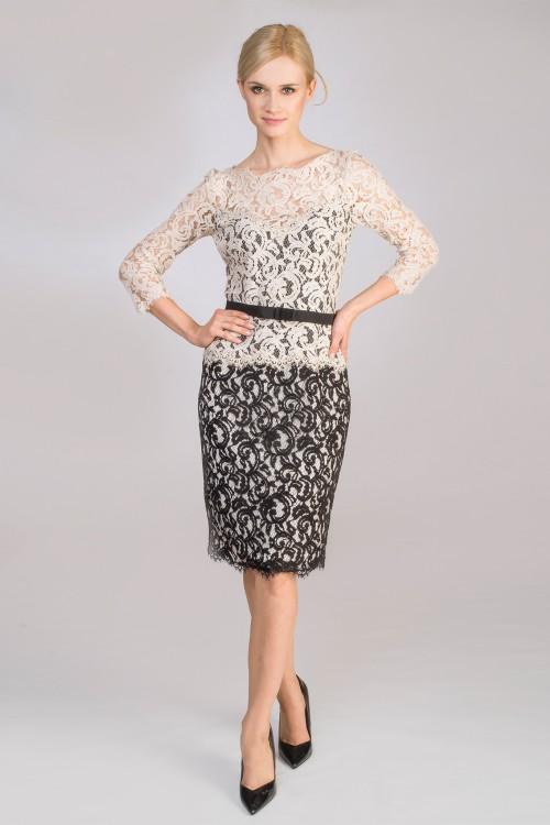 ekskluzywna sukienka wizytowa czarno beżowa