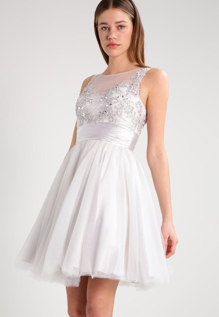 Sukienka koktajlowa z tiulem i haftem