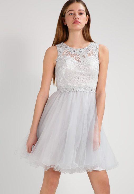 Sukienka koktajlowa z tiulem i koronką