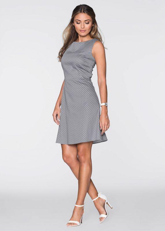 Elegancka bawełniana szara sukienka w kropki
