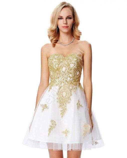biała sukienka ze złotymi dodatkami na wesele i studniówkę