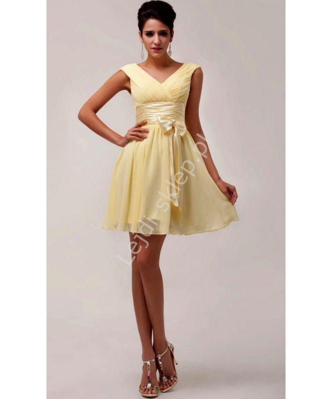 Szyfonowa żółta sukienka z kokardą