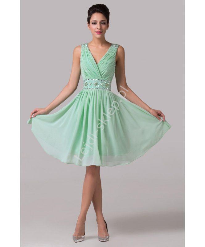 Szyfonowa sukienka z kryształkami miętowa
