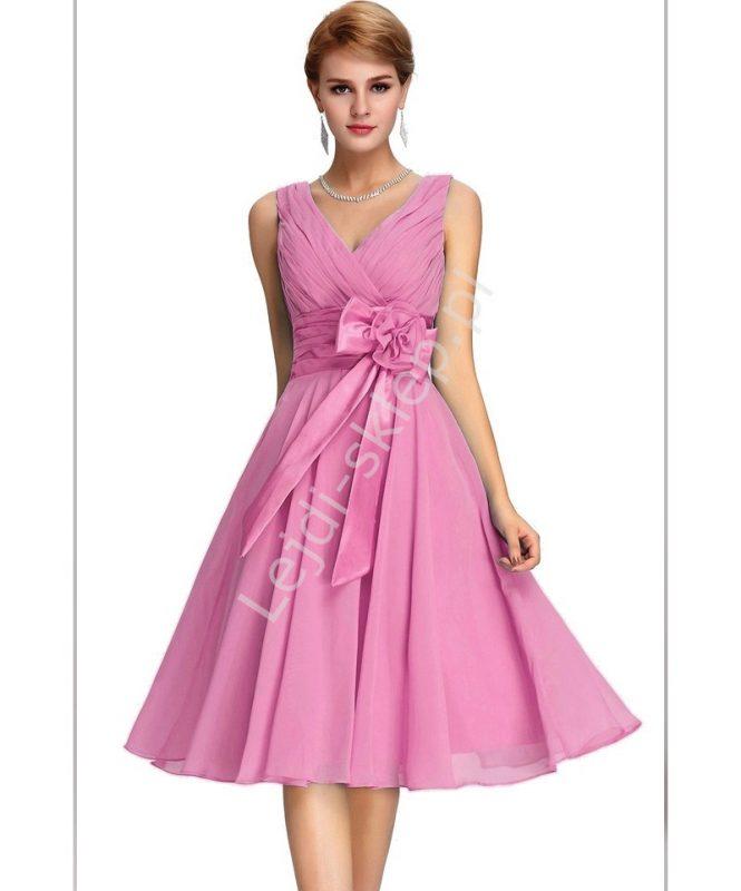 Szyfonowa sukienka na wesele różowa