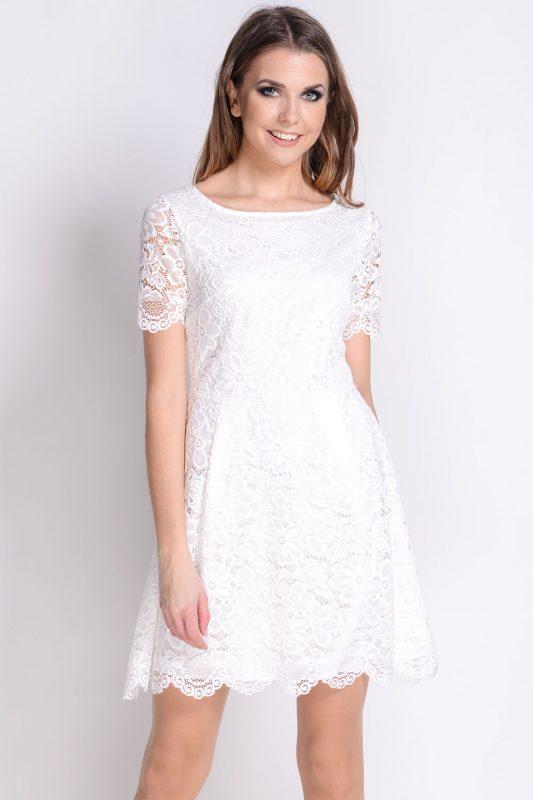 Koktajlowa sukienka koronkowa biała