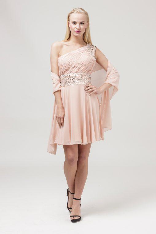 różowa sukienka na jedno ramię