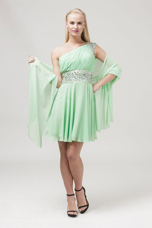 Zielona sukienka na jedno ramię