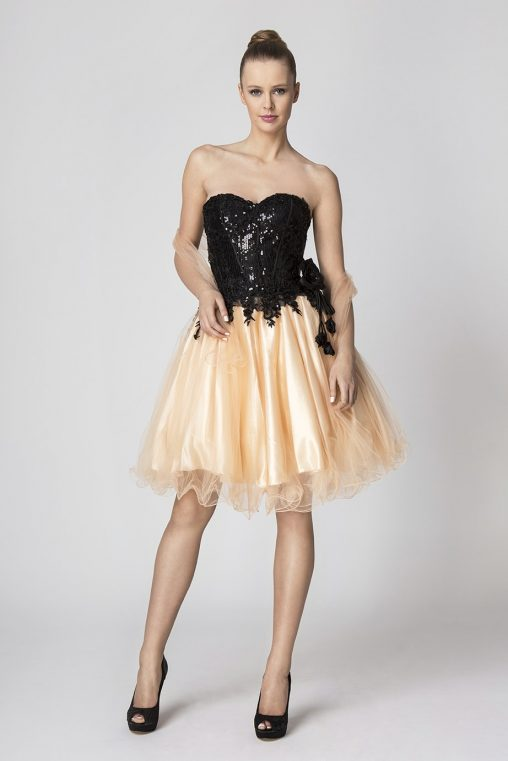 Sukienka gorsetowa tiulowa morelowa czarna