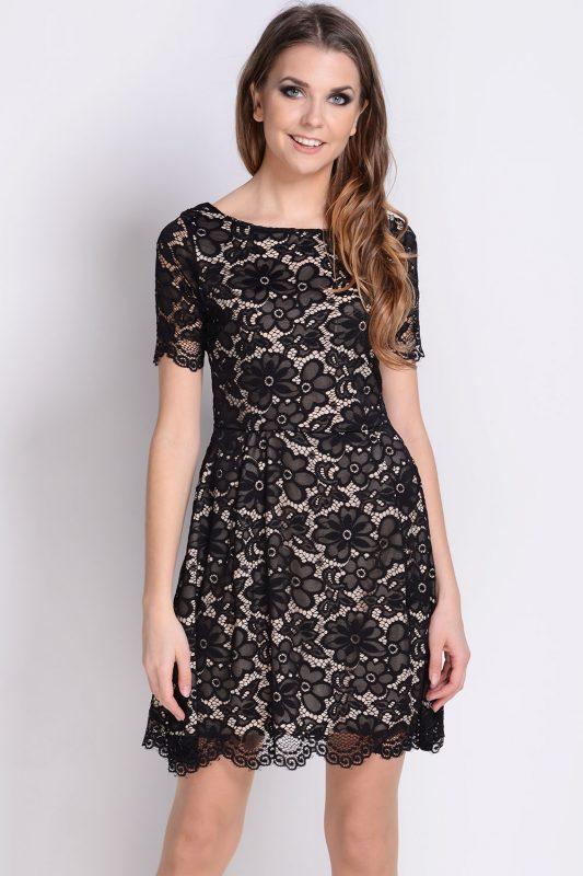 Koktajlowa sukienka koronkowa czarna