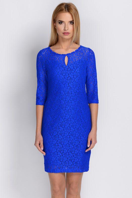 Niebieska sukienka koronkowa na wesele