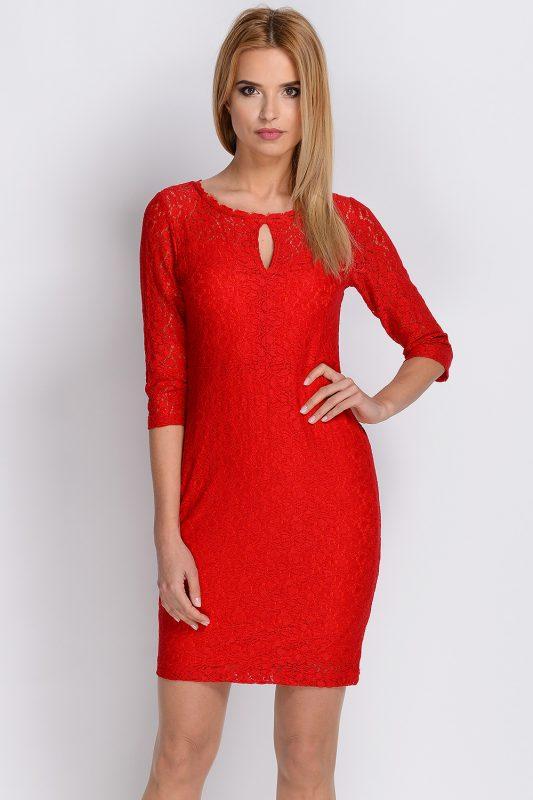 Sukienka z koronki czerwona na wesele