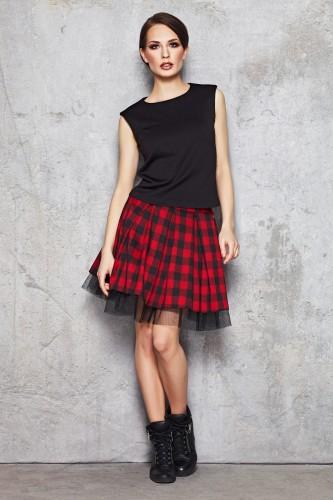 Młodzieżowa spódnica M035 czerwono czarna krata
