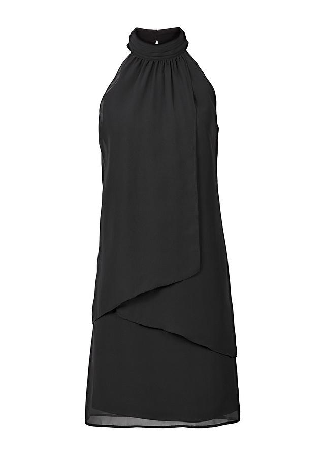 Czarna sukienka zapinana na szyi