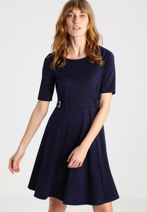 Granatowa rozkloszowana sukienka koktajlowa